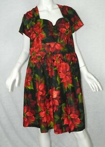 Modcloth-Dress-Black-Red-Floral-Pinup-Rockabilly-Plus-Size-Dress-1X-Large