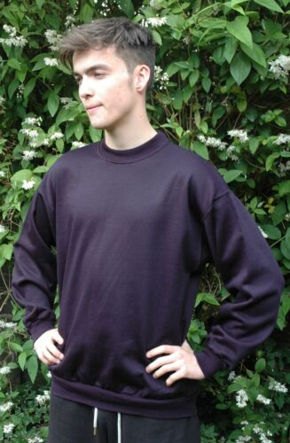 Plain navy sweat sweater jumper top casual travail loisirs sport made in uk