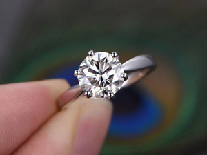 1ct Round Cut Diamond Engagement Ring 14k White gold Finish Solitaire Wedding