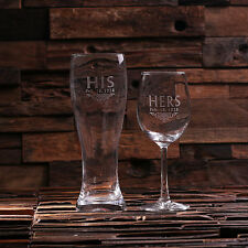 Personalized His & Her Wine Glass & Beer Glass Set, Wedding Anniversary