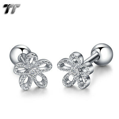 NEW TR33S TT Silver Surgical Steel Flower Cartilage Tragus Earrings