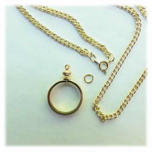 """Coin Holder Bezel Penny USA 1 Cent Gold Plated Link Necklace 20/"""" Chain Kit Parts"""