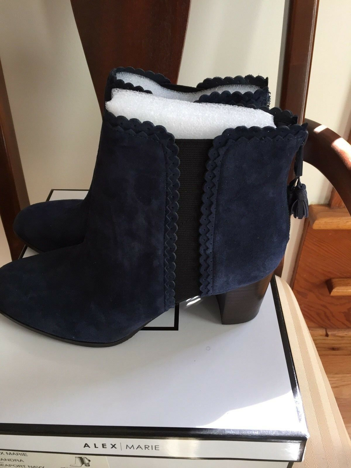 Alex Marie Suede Ankle Boots Navy Sz 9 Medium New in Box