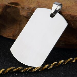 Military-Men-039-s-Stainless-Steel-Silver-Plain-Dog-Tag-Pendant-No-Chain-XK