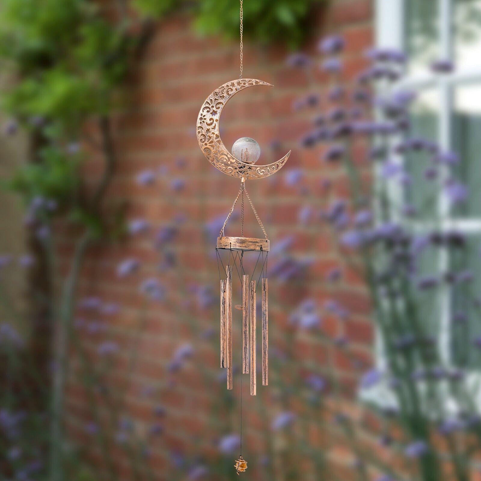 Solar Wind Chime LED Light Outdoor Garden Sun Moon Windbell Unique Design Decor