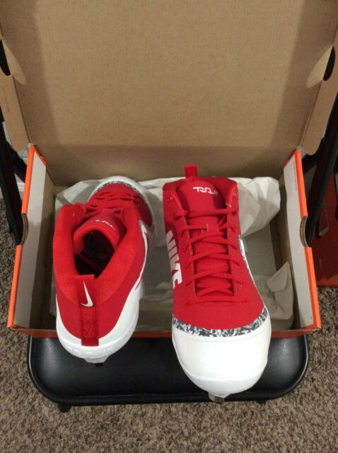 new concept c1162 8e425 Nike Force Air Trout 4 Pro Metal Baseball Cleats Red White Mens SZ10 917920- 668