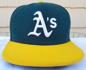 best sneakers 9e3a8 75fad Image is loading Oakland-Athletics-New-Era-fitted-cap-sz-7-