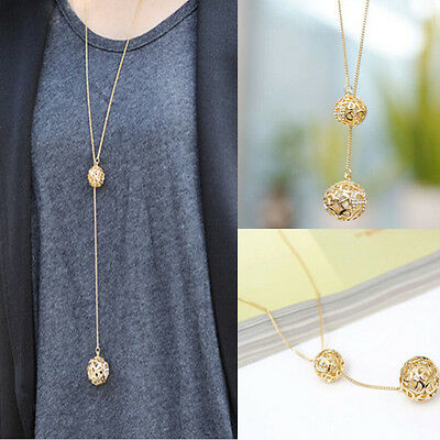 Womens Double Golden Silver Hollow Ball Pendant Long Chain Sweater Necklace New