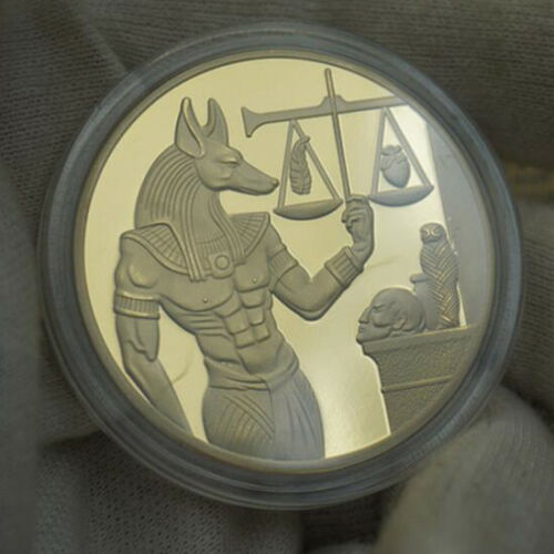 2x God of Death Egyptian Mummification Anubis Gold/&Silve r Coin Collectible US