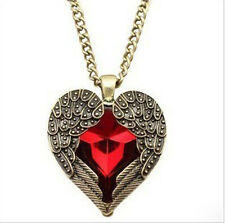 Retro Women Red Heart Shape Angel Wings Sweater Chains Charm Pendant Necklace