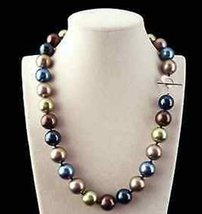 Rare-Huge-12mm-Genuine-Multicolor-Round-South-Sea-Shell-Pearl-Necklace-18-039-039-AAA