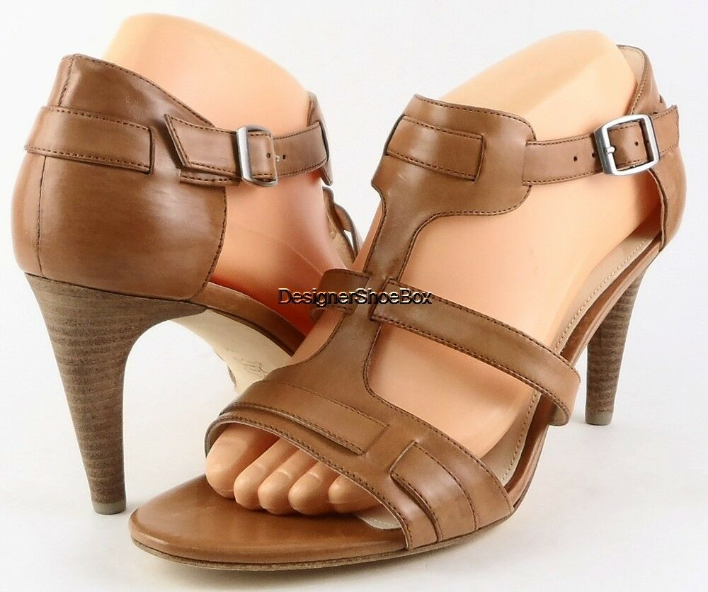 175 VIA SPIGA HILDA Light Camel Leder T- strap Sandales Open Toe Pumps 9 M