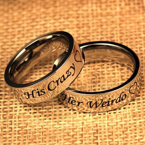 Wo /_ 1Pc su carta de compromiso boda Loco su raro pareja anillo joyería barata