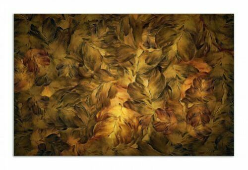 Goldene Blätter Ölfarben 80x52cm Wallario Herdabdeckplatte 1-teilig aus Glas