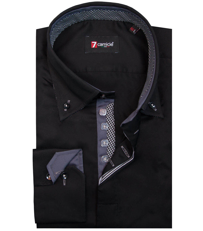 7camicie 1487 - camicia uomo 2 bottoni button down  slim