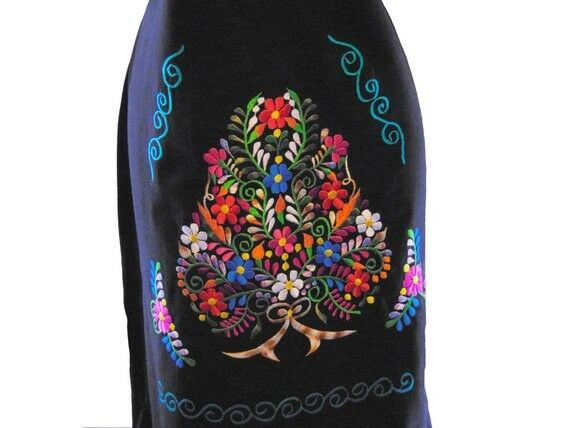 Black  Embroidered Mexican Mexico Womens Dress & … - image 5