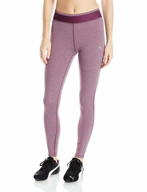 e3774cfb530abd Puma Women's WT All Eyes On Me Tights Full Length Italian Plum Jacquard Sz  XL