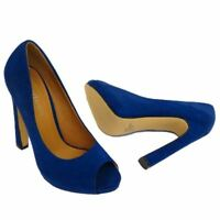 Ladies Peep Toe Suede High Heel Shoe - Blue  - Occasion Going Out - UK 3,4,5,6,7