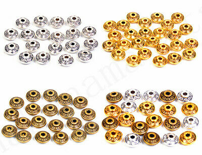 50Pcs Metal Tibetan Silver Rondelle Bicone Spacer Beads For Jewelry Making 6mm