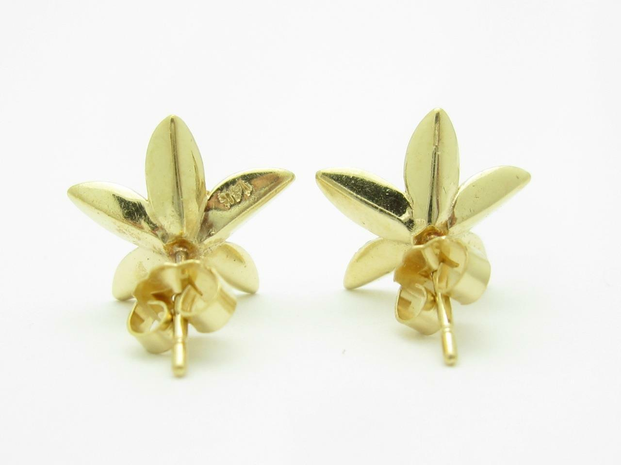 14k Yellow Gold Diamond Stud Flower Earrings Ebay