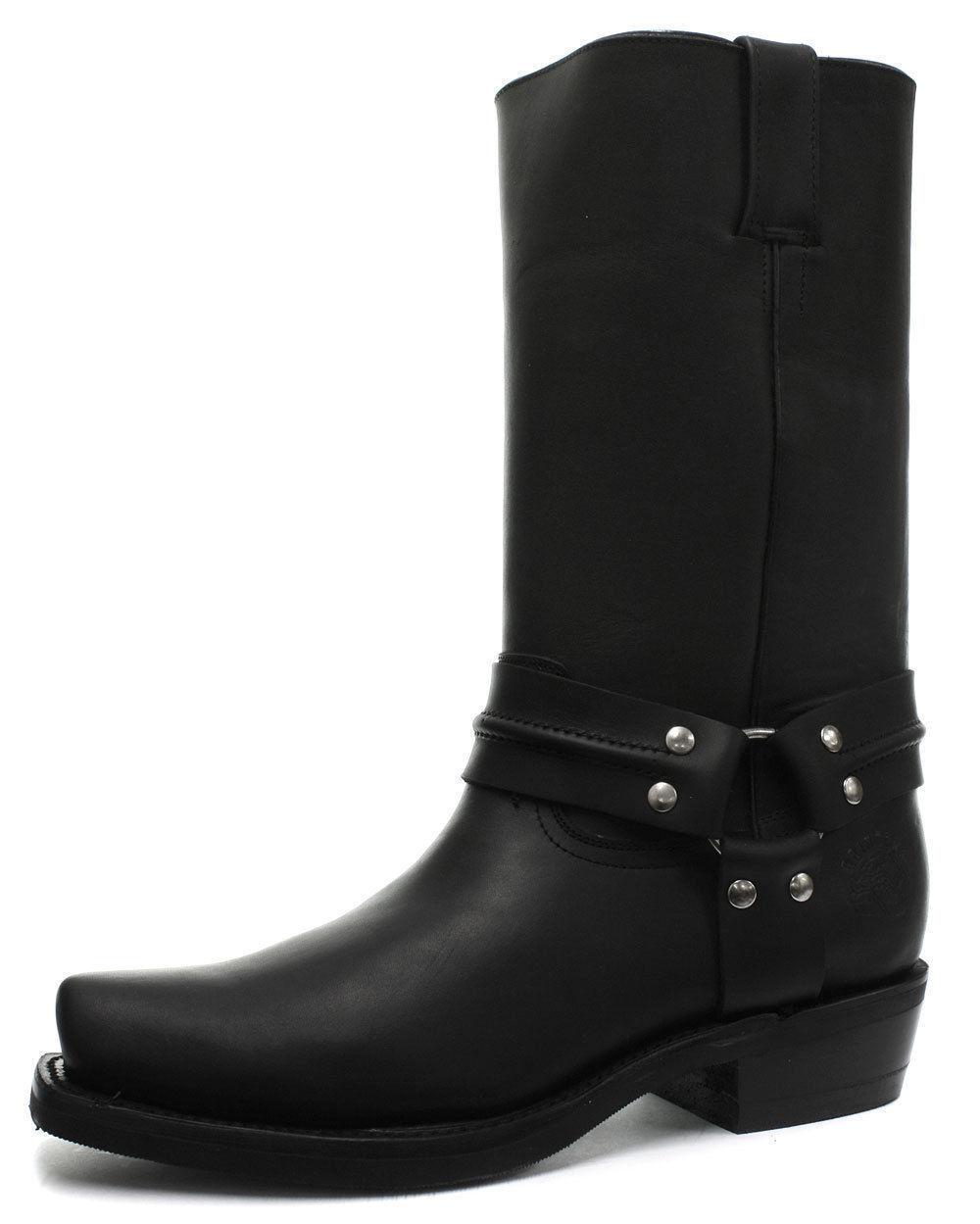 Ladies Leather Grinders Renegade Hi Black Cowboy Western Slip On Pointed Boots