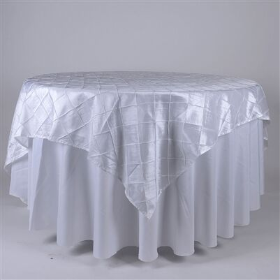 """TulleShop New 85/"""" x 85 inch Square Pintuck Satin Tablecloths Overlay Table Cover"""