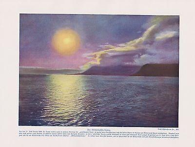 Mitternachtssonne Sommersonnenwende Sonnenwende Sonne Farbdruck Von 1912 Reinweiß Und LichtdurchläSsig