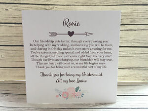 personalised vintage rustic thank you for being my bridesmaid card