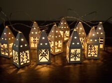 Set Of 10 White Battery Wooden Christmas Lantern Lights