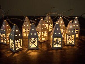 Christmas Lantern.Details About Set Of 10 White Battery Wooden Christmas Lantern Lights