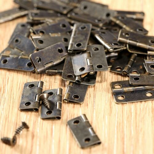 50pcs Mini Metal Hinges with Screws Jewelry Box Dolls House Cabinet Hinges Decor