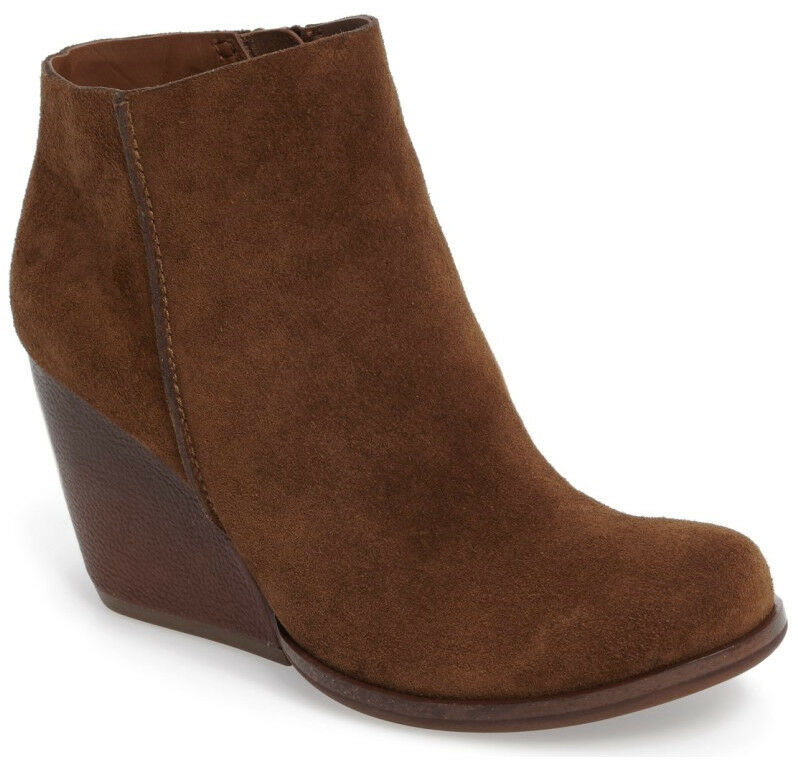 NEW Kork-Ease Natalya Brown Suede/Leather Wedge Boot Bootie Size US 8.5 Side Zip