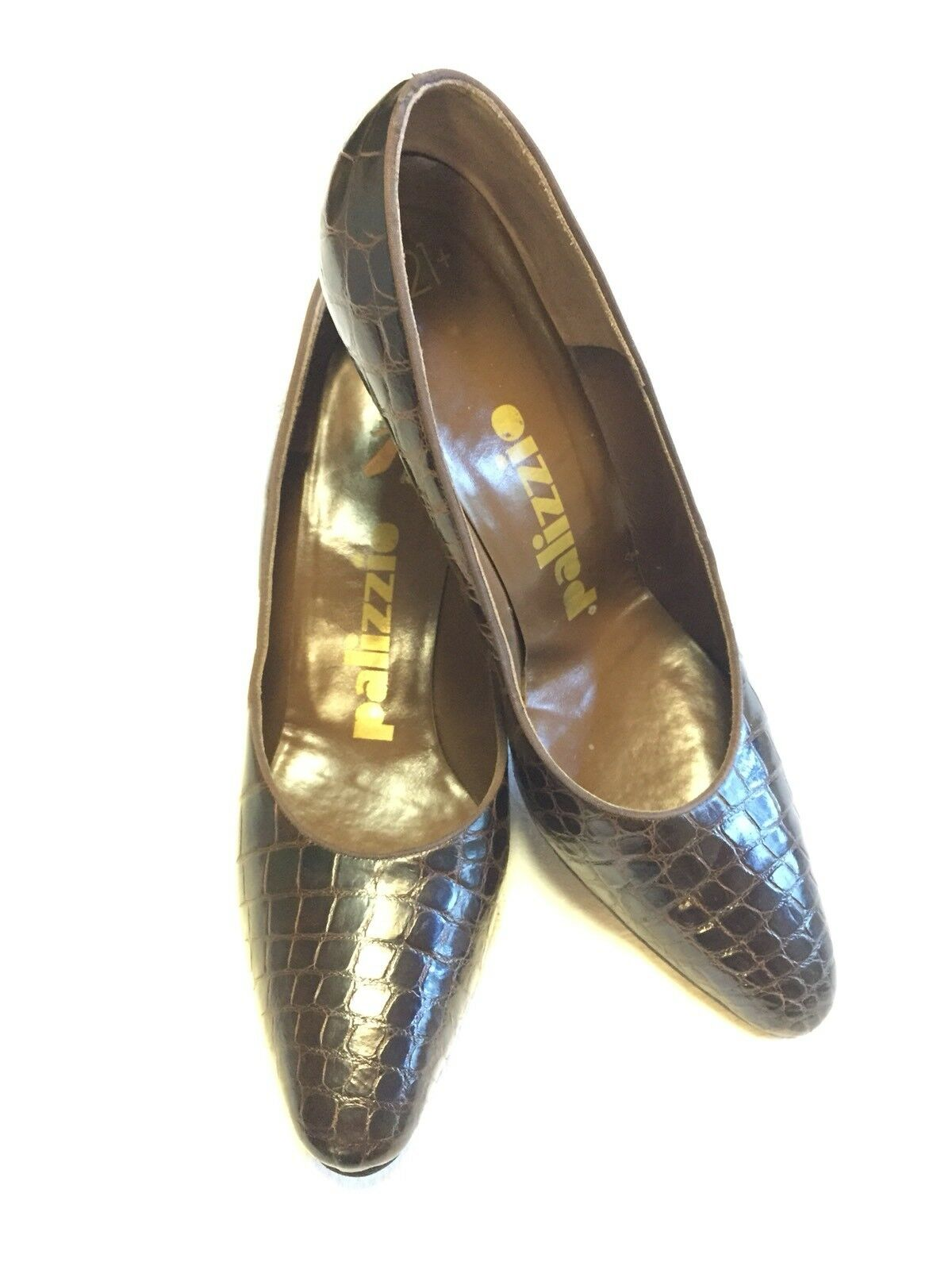 Vintage Genuine Alligator 1980's Palizzio Chocolate Marroneee Wouomo Pumps Dimensione 8