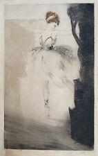 Paris Art Deco Boudoir Danseuse Ballerine Gravure sig main Louis Icart 1888-1950