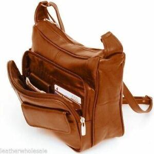 Women's Leather Organizer Purse Shoulder Bag Multiple Pockets Cross Body Handbag