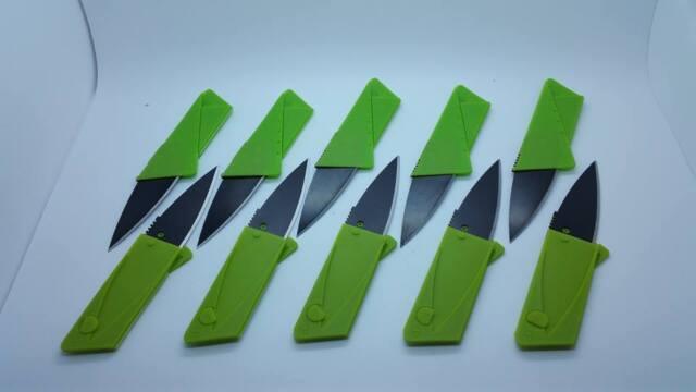 10 Green Credit Card Knives Folding Wallet Thin Pocket Survival