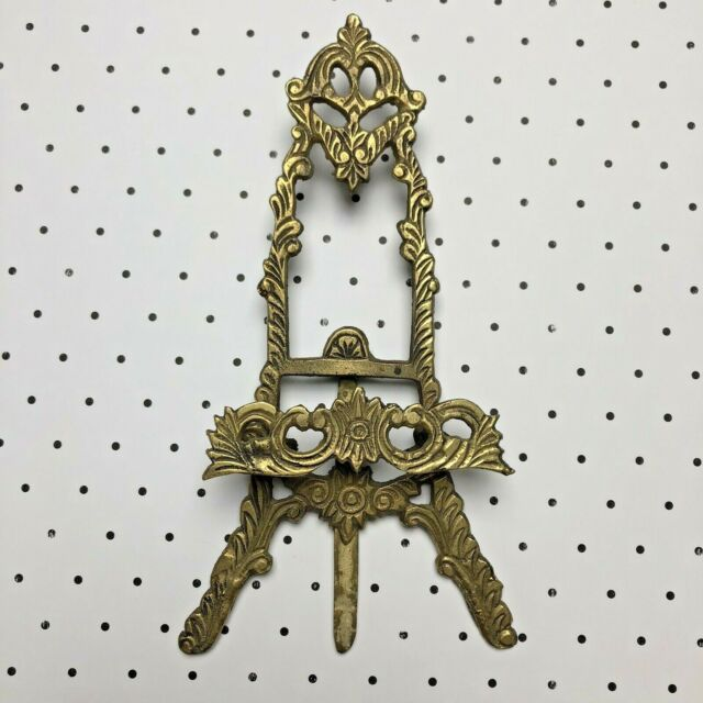 Vintage Solid Brass Metal Floral Scroll Easel Picture Stand Home Decor India Vtg For Sale Online