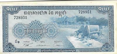 Features Oxen Inventive Cambodia 100 Riels P 13b Unc From 1972