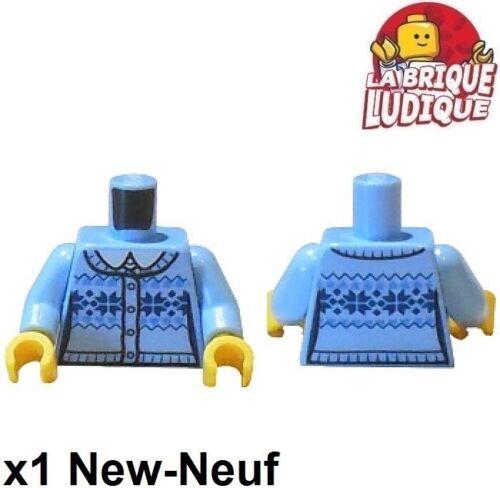 Lego 1x Minifig Torso Rumpf Pull Wolle Wool Winter Hellblau 973pb2336c01 Neu