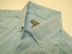 Peter-Millar-Summer-Comfort-Blue-Glen-Plaid-Pattern-Sport-Shirt-NWT-Small-135