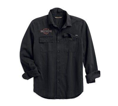 L 96411-14VM NEU Harley-Davidson Herren Hemd grau blau Gr Mit Etikett!