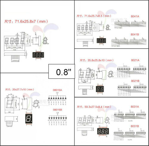 "0.28//0.36//0.4//0.56//0.8/"" Red led Display 7 Segment Common Cathode//Anode 1-4 Digit"
