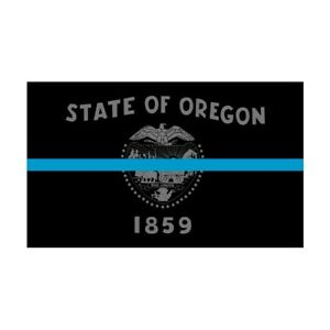 Oregon OR State Flag Thin Blue Line Police Sticker / Decal #275 Made in USA