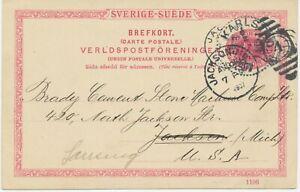 "SCHWEDEN 1907 10Öre Kab.-GA-Postkarte m. K1 ""KARLSTAD"" n. JACKSON, Michican, USA"