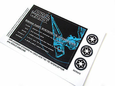 STAR WARS MODELS DIE CUT REPLACEMENT STICKERS for UCS Lego 7181 TIE INTERCEPTOR