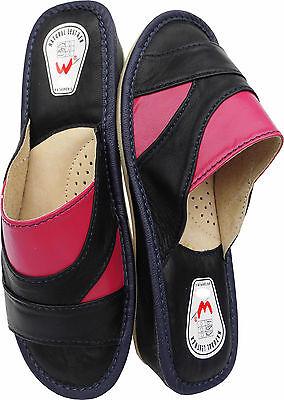 Pantolette Hausschuhe Gr.40 LEDER Dunkel Blau-Pink (Made in Poland 6-02-4-00)
