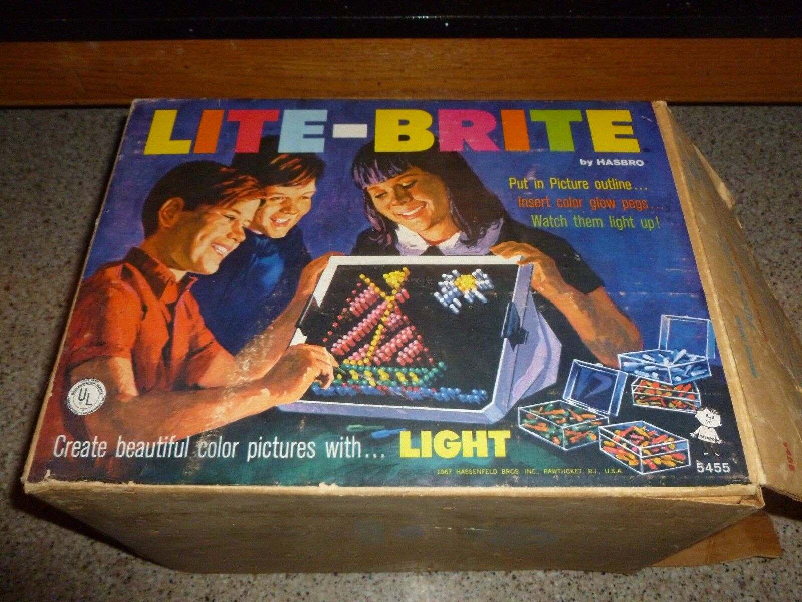 Vintage Lite Brite 1967 Hasbro In Box & Numbers Numbers Numbers Accessory Tested dd14bf
