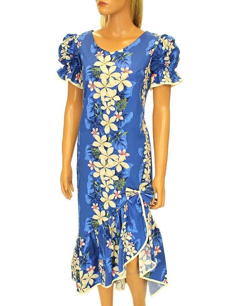 Ladies Ladies Ladies Mid Length Vintage Plumeria Ruffled Muumuu Dress C-VP a101e2