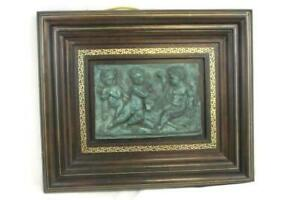 VTG Maitland Smith LTD Wall Hanging Carved Cherubs Hand Painted Leather Frame