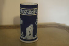 """Vintage Wedgwood Cobalt Blue Jasper Ware Muses Spill 5"""" Vase (c. 1920)"""